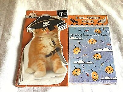 Halloween Kids Cards Greetings Friends Card & Envelopes 16 NEW - LOT of 2 pks - Kids Halloween Cards
