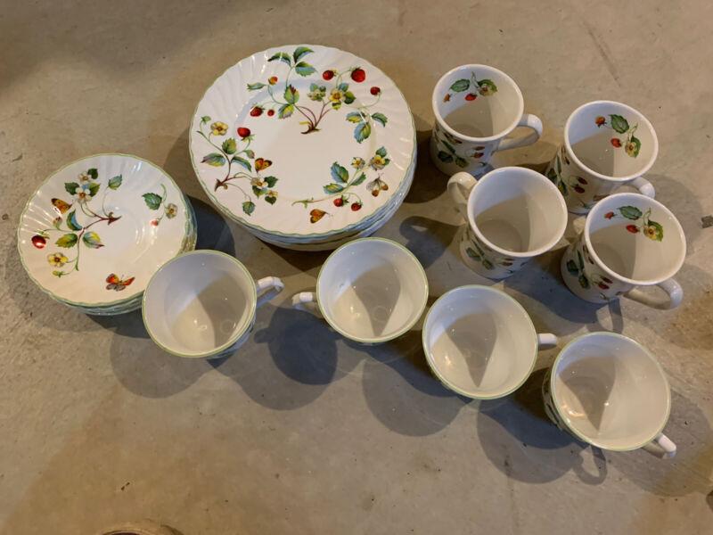 Vintage Set James Kent Old Foley Strawberry Staffordshire Tea Coffee Cups Plates