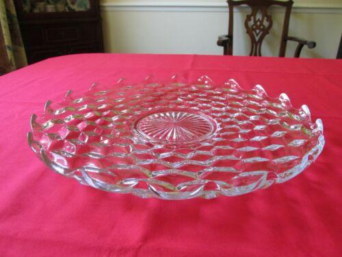 "VINTAGE FOSTORIA AMERICAN CLEAR GLASS ROUND 14"" TORTE PLATE PLATTER- RAYS CENTER"