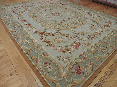 8x10 French Aubusson design Oriental Area Rug Green Gold Beige wool hand-knotted Green Gold Area Rug