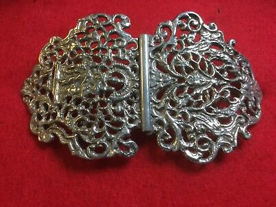 Fabulous Silver Asian Belt Buckle Highly Ornate. Stunning