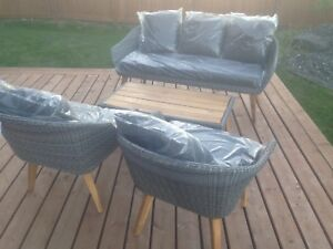 Patio Sofa and 2 Chairs, Table (BRAND NEW)