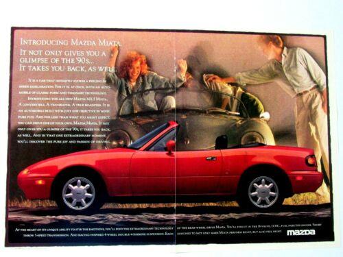 1990 Introducing Mazda MX 5 Convertible Original Vintage Print Ad Center Fold