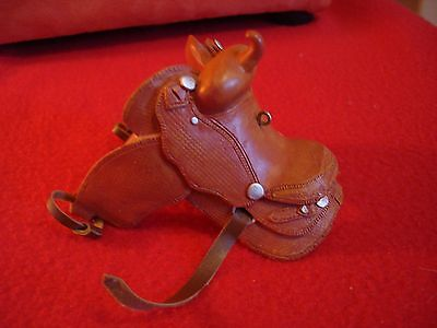 Miniature Clay and Leather Western Horse Saddle Ornament Figurine