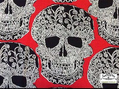 MM92 Skulls Halloween Scary Terror Dead Tattoo Drawing Quilting Cotton - Halloween Drawing Skulls