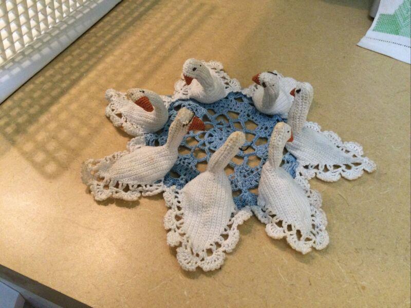 Antique Vintage Handmade Crochet Swan Doily, Round, Blue