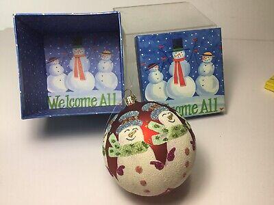"Santa's Best 3-1/4"" Glitter Flocked Snowmen Christmas Tree Ornament With"
