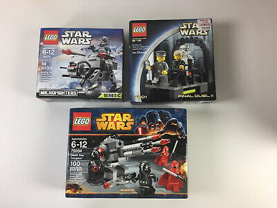 LEGO STAR WARS LOT OF 3 7201 75034 75075 FINAL DUEL II AT-AT DEATH STAR TROOPERS