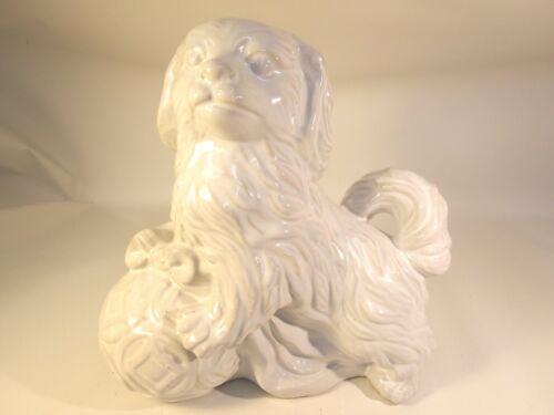 "Vintage Fine Ceramic Shih Tzu 11"" on Ball Charming Spaniel Dog Figurine Marked"