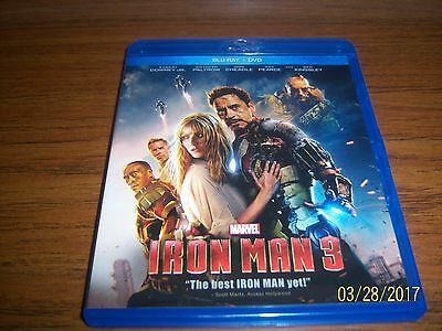 Iron Man 3 (Blu-ray + DVD, 2013, 2-Disc Set) New Sealed