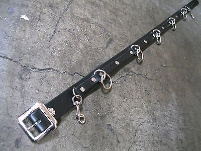 Black Leather 5 Ring Narrow Bondage Belt Punk, Sid Vicious, Metal, Cosplay