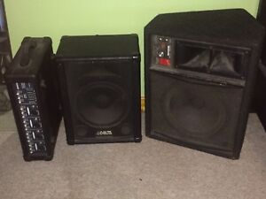Pa equipment speakers and mixer