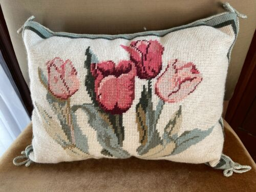 Antique French Needlepoint Pillow Wool TULIPS Velvet Back Passementerie Trim