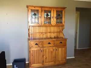 Pine Hutch with Stained Glass Window Feature Blue Haven Wyong Area Preview