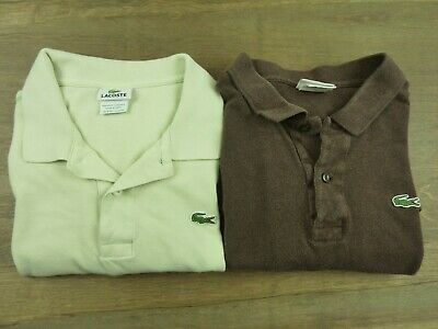 Lacoste Lot of 2 Mens Size 8 XXL Polo Short Sleeve Shirt Brown and Green