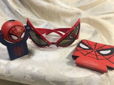 Lot of 3 Spider-Man items: LED Projector Plug-In Night Light, Spider-Man glasses
