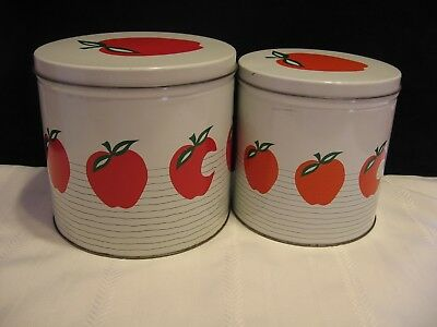 Set of 2 Vintage Kitchenware white tin Canister with Red Apple Design (D87)