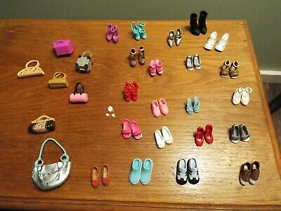 21 Pairs of Shoes and 6 Purses Barbie Accessory Lot