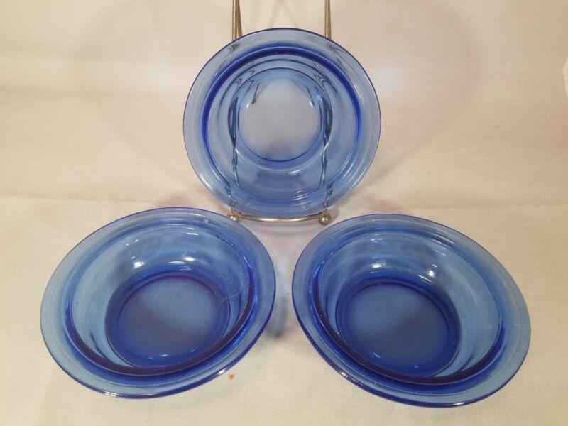 "Three Vintage Depression Glass Hazel Atlas Mod Cobalt Blue 5"" Berry Bowls"