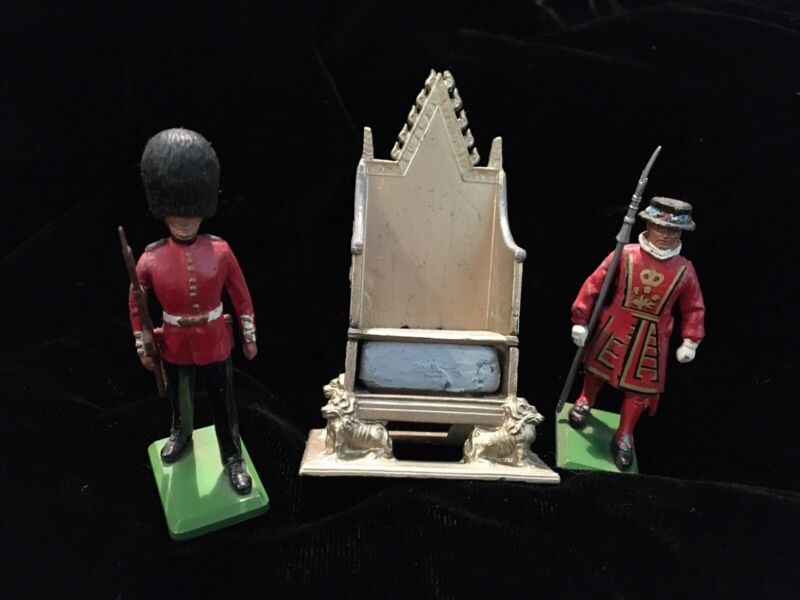 1953 Vintage Britains Lead Coronation Throne England Stone of Scone 2 Guards Lot