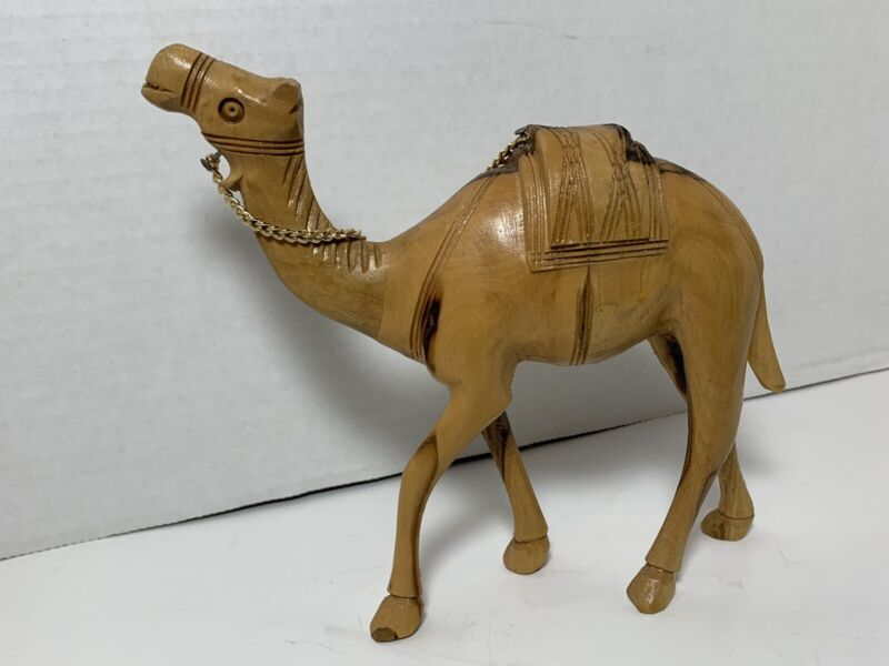 "6"" Wooden Carved Camel Nativity Figurine (Olive Wood?) Detailed;  Nose-Tail 6.5"""