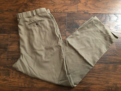 Brooks Brothers 100% Wool Pants Trousers Pleated Front Olive Green Men's 40x32
