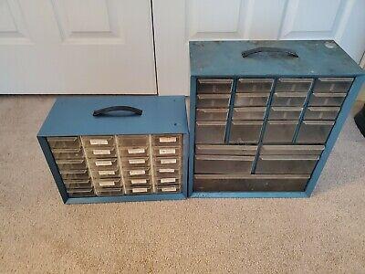 2 Vintage Akro Mils Metal Stacking Organizer Cabinets Blue 21 24 Drawer Deep