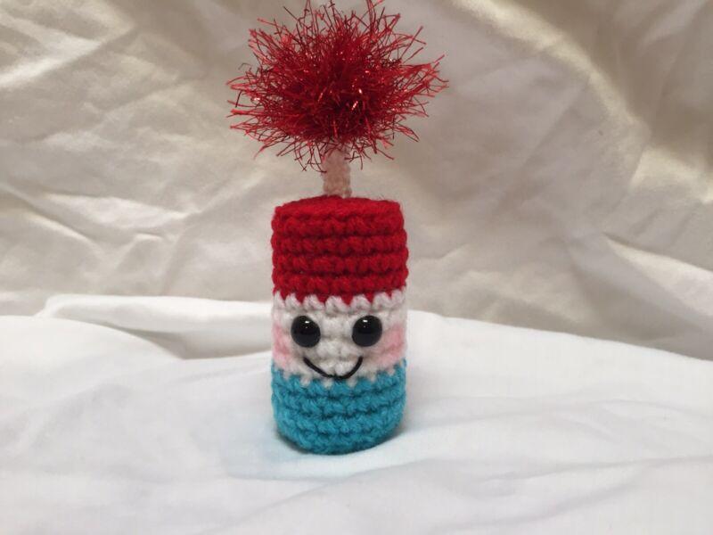 New Handmade Crochet Summer 4th Of July Fire Cracker Tiered Tray Decoration