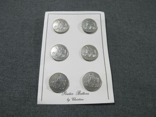Vintage Mom, Dad, & Baby Cat Family 6 Pewter Buttons unused in card by Christina