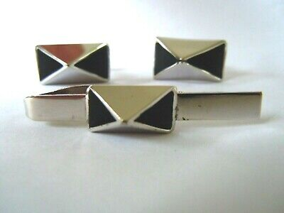 Men's 1920s Style Ties, Neck Ties & Bowties 1920's Men's Tie Clasp & CUFFLINKS ~ INV# 1689 $4.95 AT vintagedancer.com
