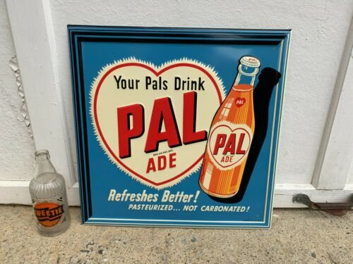 """""""PAL ADE DRINK"""" EMBOSSED METAL ADVERTISING SIGN (17.5""""x 17.5"""") MINT CONDITION"""