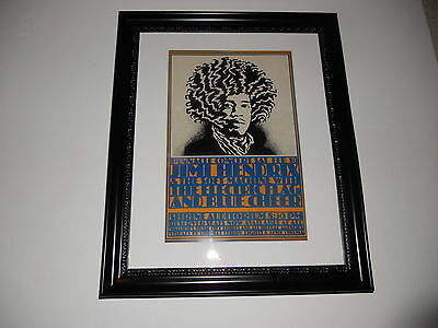 "Large Framed Jimi Hendrix Blue Cheer Electric Flag 1968 Poster RARE 24"" by 20"""