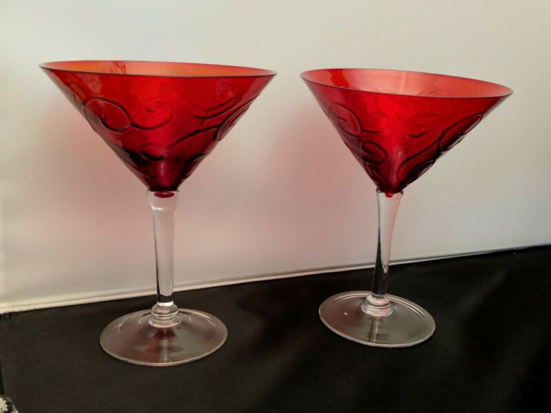 2 ruby red Martini Embossed Scroll Pier 1 One