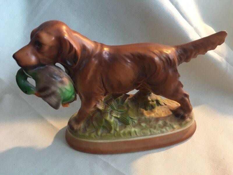 Irish Setter Figurine Porcelain Retriever Hunting Dog Mallard Duck Hunter