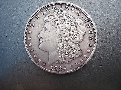 1884   S Off Center Obs    Micro S Morgan Silver   Dollar Au 133 Years Old