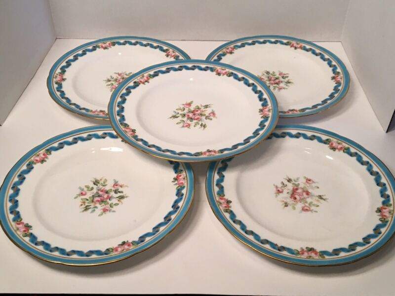 "Antique Set of 5 Minton Gold & Celeste Blue Gilt ~9"" Dinner Plates - 1861 Mark"