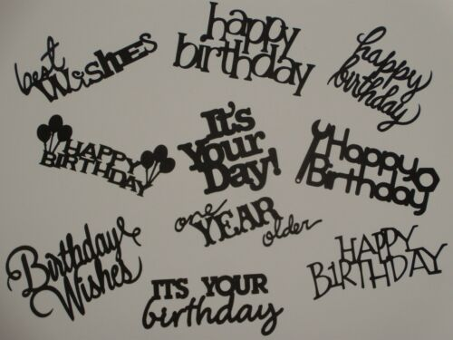10 BIRTHDAY sentiments for greeting card scrapbook die cuts #3