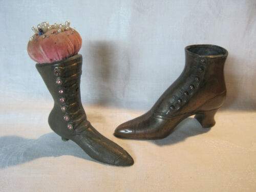 2 Antique vintage Victorian ladies shoe boot pincushions