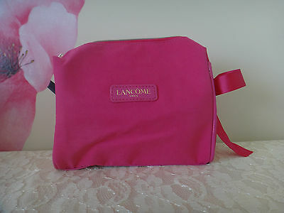 Lancome Fuchsia Cosmetics Bag W/ Matching Bow -COTTON material Approx: 7x6x2.5 (Make Up Materials)