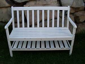 Garden Bench Seat with Shelf Underneath White Timber Panels North Lakes Pine Rivers Area Preview