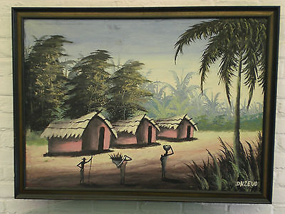 GRANDE PEINTURE  AFRICAINE A L HUILE  ANCIENNE