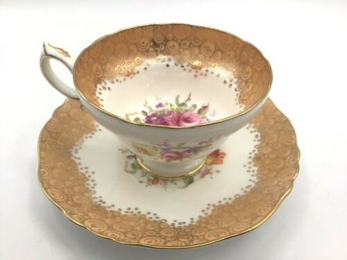 Signed F Howard - Floral & Yellow Gold Hammersley Tea Cup and Saucer