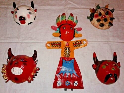 Lot of 4 Vintage Mexican Coconut Masks & 1 Whimsical Coconut Doll [Guerrero]