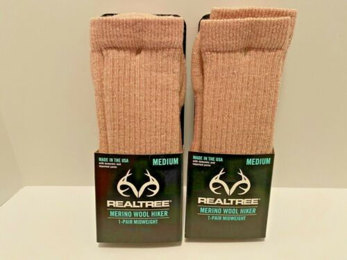 2 Pair New REALTREE Pink Merino Wool Blend Hiking Socks Womens Medium Shoe 6-10