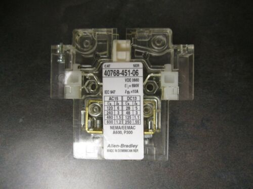 NEW ALLEN BRADLEY 40768-451-06 AUXILIARY CONTACT