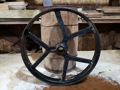 221 Antique Cast Iron Flat Belt Pulley Line Shaft Hit Miss Engine Spoke 16