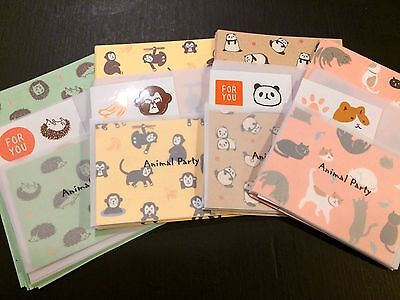 Animal Party Mini Letter Set - Kawaii Japanese Stationery - Cute Daiso paper