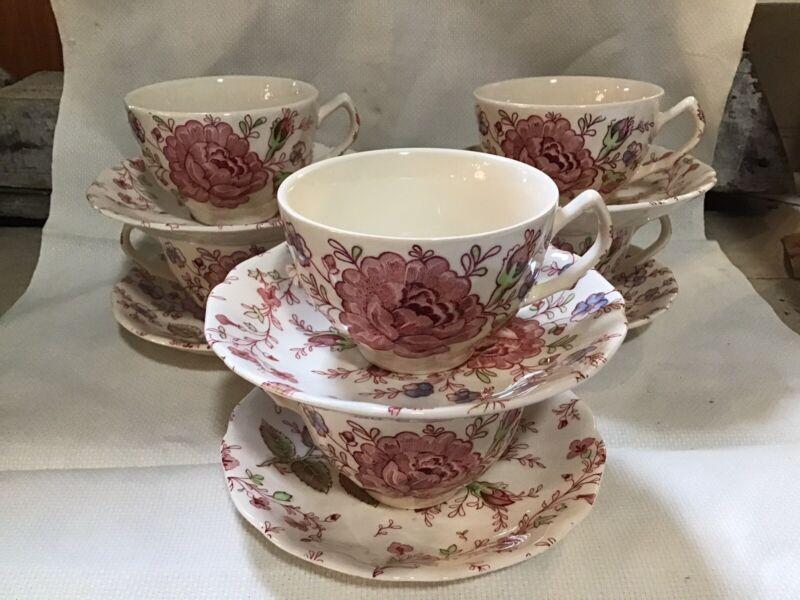 Vintage Johnson Bros. Rose Chintz England Cups & Saucer Set Of 6