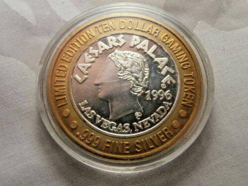 1996 CAESARS PALACE .999 FINE SILVER LIMITED EDITION $10 GAMING TOKEN LAS VEGAS