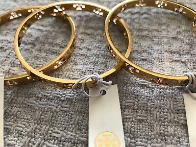 TORY BURCH PIERCED BANGLE GENUINE GOLD TONE NEW WITH TAGS FREE SHIPPING